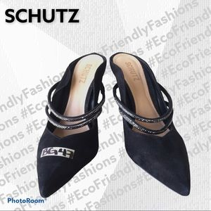 Schutz Suede Slip on Embellished Mule